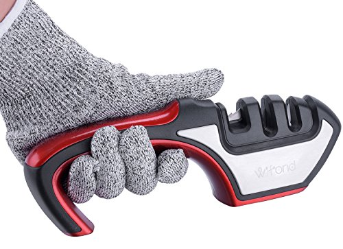 Knife Sharpener - Wifond 3-Stage Home Kitchen Manual Sharpening Kit with Cut-resistant Glove - for Dull Knives Scissors Shears by Wifond (Image #6)