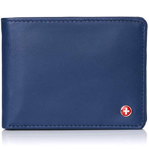 Alpine Swiss Mens RFID Safe Leather Wallet Slim Flip-out Bifold Trifold Hybrid Smooth Finish Blue