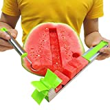 Watermelon Windmill Cutter Slicer, Stainless Steel Watermelon Cubes Cutter with Scoop, Melon Knife Corer Fruit Vegetable Tools New Kitchen Gadgets