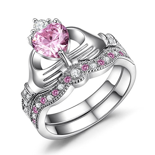 Caperci 925 Sterling Silver Claddagh Ring Heart-Shaped Simulated Pink Sapphire Engagement Wedding Ring Sets