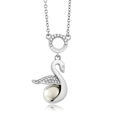 382c68e54f35 Image Unavailable. Image not available for. Color  Sterling Silver Lustrous  Shell Pearl Swan Pendant Necklace ...