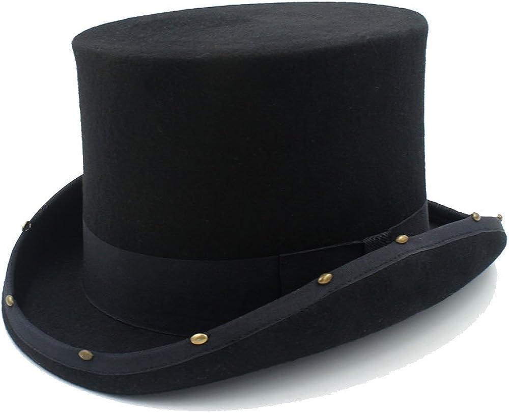XYAL-Hats Xingyue Aile Sombrero de copa y gorras de vaquero, Sombrero de copa Steampunk sombrero hecho a mano remache Sombrerero loco Vintage mujeres hombres sombrero de fieltro de lana tradicional
