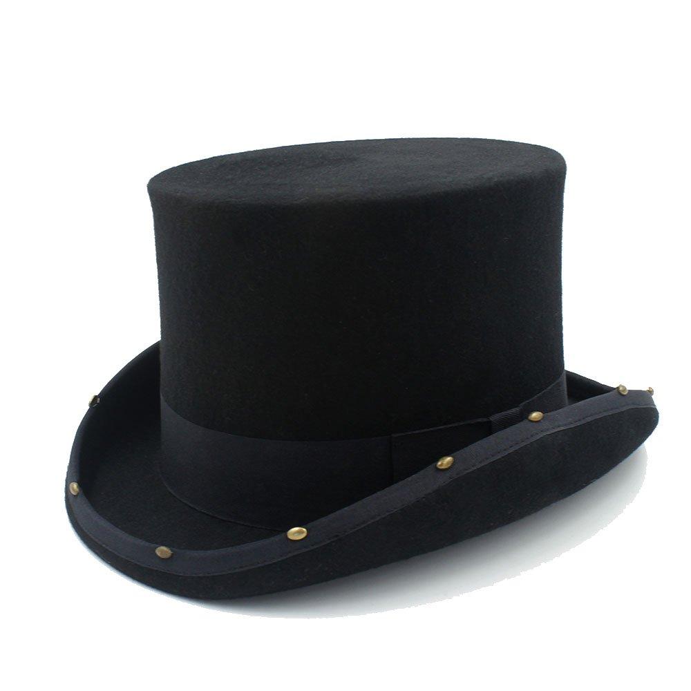 LL Men's Black Top Hat Steampunk Hat Handmade Rivet Women Men Traditional Wool Top Hat (Color : Black, Size : 61cm)
