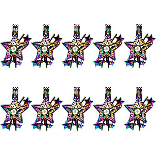 (10 Pack) Multi Color Star Charm Locket Diffuser Beads Cage ()