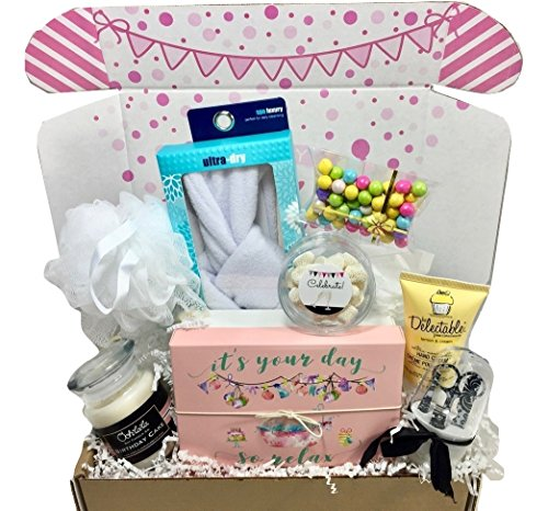 Birthday Set Happy Gift (Spa Bath Bomb Birthday Theme Gift Basket Box Her-Women, Mom, Aunt, Sister or Friend)