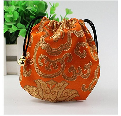 30Pcs Chinese Silk Brocade Embroidered Drawstring Jewelry Pouch
