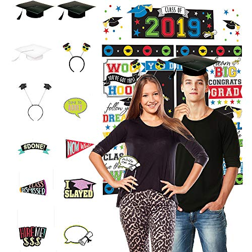 Party City Multicolor 2019 Graduation Photo Booth Supplies with Rainbow Scene Setter, Cardstock Props and More