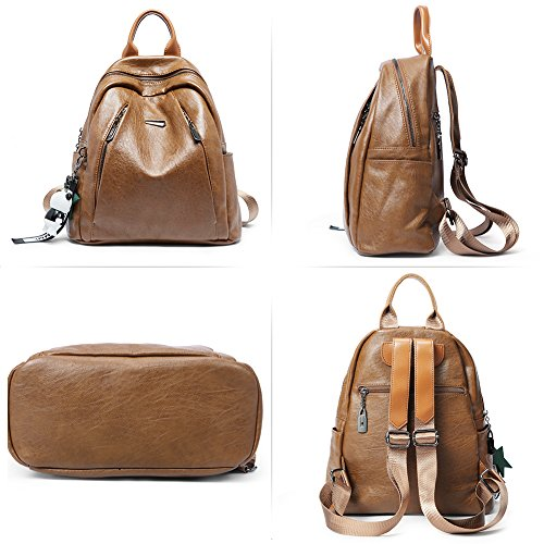Backpack Purse for Women PU Leather Large Waterproof Travel Bag Fashion Ladies School Shoulder Bag brown by Cluci (Image #5)