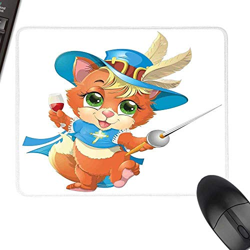 Cat Extra Large Mouse Pad Kitten Musketeer with a Glass of Wine Knight Cat Fun Cartoon Style Artwork Keyboard Mouse Pad 11.8