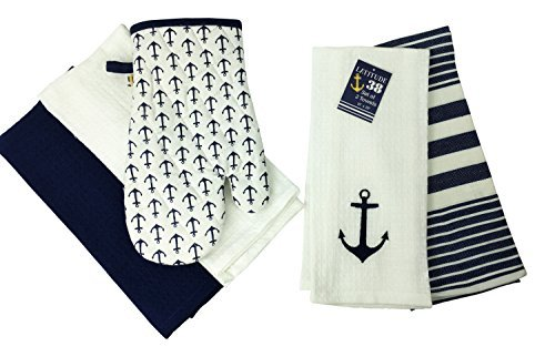 Nautical Anchor Embroidered Dish Towel and Oven Mitt, Set of 5 (White)