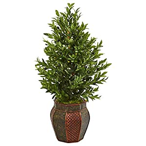 Nearly Natural 9322 40-in. Olive Cone Topiary Artificial Decorative Planter Silk Trees, Green 116