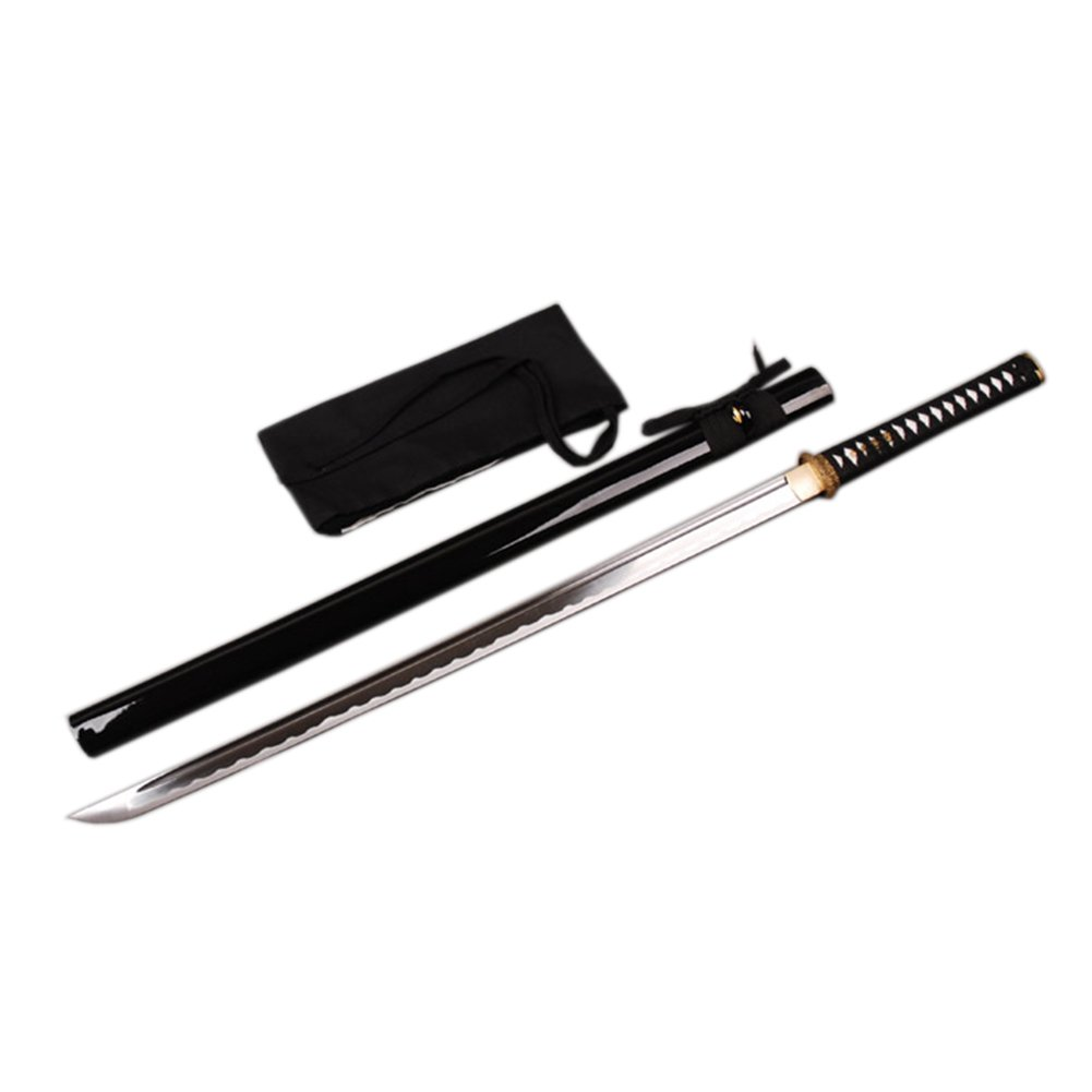 YJ COOL Japanese Ninja Sword Practice Sharp High Carbon Steel Real Sharp Battle Ready (Black) by YJ COOL