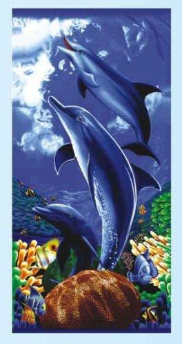 Bajo el agua delfín divertido Cable de reactiva algodón playa y toalla de baño – Océano