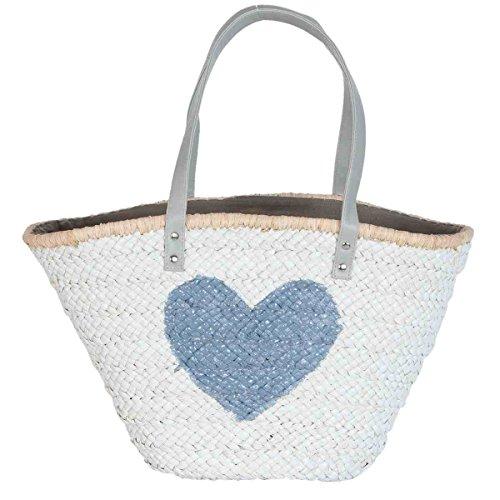 Clayre & Eef BAG307G Tasche Shopper Strandtasche Einkaufskorb Korb weiß Herz grau ca. 61 x 16 x 30 cm