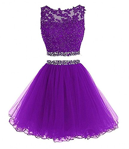 Open Piece Bessdress Dress Two purple BD122 back Prom short Tulle Evening Dress Beaded HnnZSOq