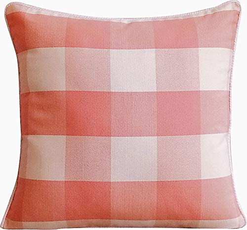 The HomeCentric Peach Pink & Ivory White Large Gingham Checks, Modern Plaid Couch Cushion Cover,18 x 18 Buffalo Checks Cotton Pillow Cover, Pink Pillow Covers 18x18 inches - Peach Pink Plaid