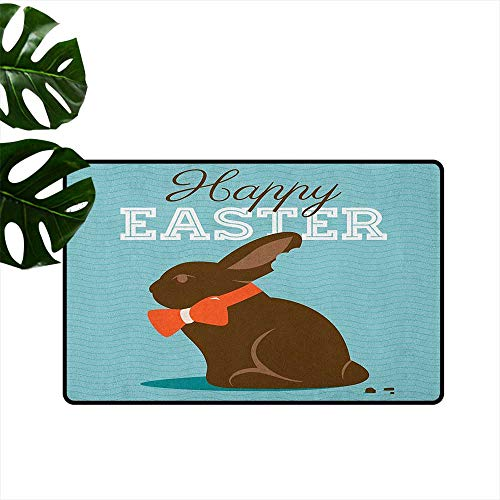 LilyDecorH Easter,Entrance Door Mat Chocolate Bunny with an Orange Bow Tie on a Wavy Stripes Background 18
