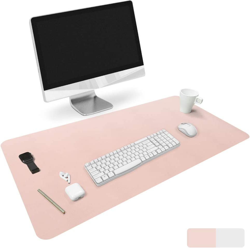 "HOMECAS Desk Pad,Office Desk Mat Blotter,31.5"" x 15.7"" Upgraded PU Leather Desk Protector Cover Large Mouse Pad, Waterproof Writing Mat for Office/Home/Computer,Dual Use (Pink & Silver)"