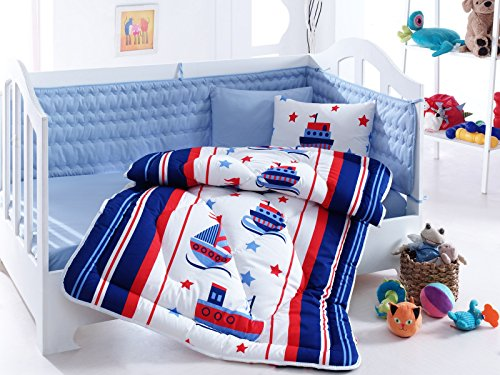 6 Pcs Luxury Soft Colored Bedroom Bedding 100% Cotton Ranforce Baby Sleep Set Quilt Protector / Soft Relaxing Comfortable Pattern Design Ship Baby Sea / Baby Bed Size with Flat Seet Denizci Blue White