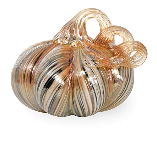 Boston International Glass Pumpkins Small Neutral Ribbon -