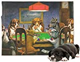 Dogs Playing Poker 1903 C.M.Coolidge Microfleece Dog Blanket - Large