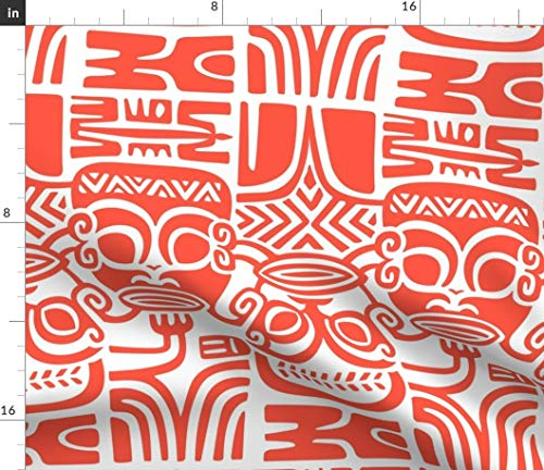 Spoonflower Tiki Fabric - Tahitian Tiki Tropical Paradise Masks Red White Tiki Tapa Hawaiian Tahitian Fijian Island Aloha by Muhlenkott Printed on Petal Signature Cotton Fabric by The Yard