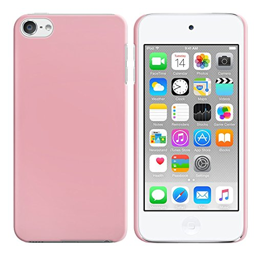 FINCIBO Case Compatible with Apple iPod Touch 5 6, Back Cover Hard Plastic Protector Case Stylish Design for iPod Touch 5 6th Generation - Solid Light Pink