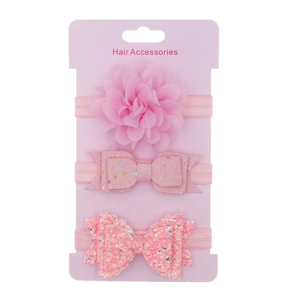 EDTO 3PCS Kids Girl Floral Toddler Bow Headband Hair Accessories Bows Bows Head