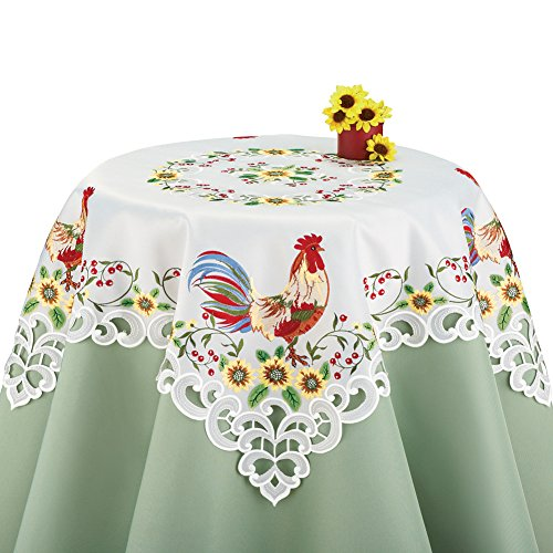 Colorful Rooster & Sunflowers Lacy Embroidered Table Linens, Square