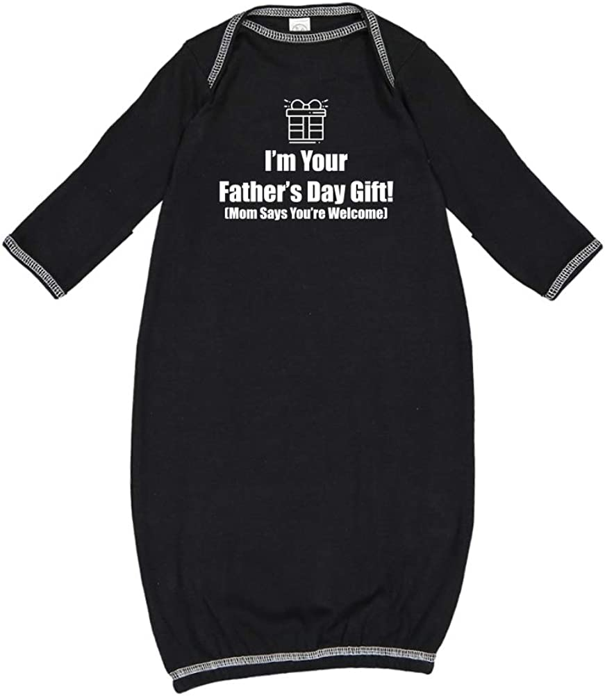 Mashed Clothing Happy Fathers Day Mom Says Youre Welcome Baby Cotton Sleeper Gown Outlined Present