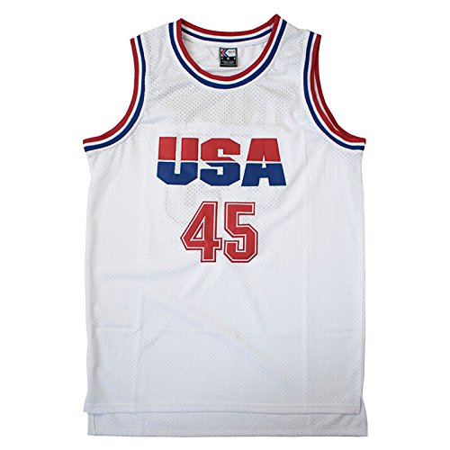 Team Apparel Basketball Jersey - MOLPE Donald Trump 45 USA Basketball Jersey S-XXXL White (M)