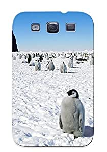 Hot VEPZkTF1733NQfDk Case Cover Protector For Galaxy S3- Nature Snow Birds Penguins / Special Gift For Lovers