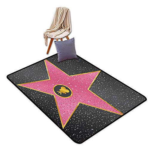 Girl Room Children's Room Kindergarten Decoration Rug Popstar Party Hollywood Walk of Fame Symbol Celebrity Entertainment Culture Girl Room Children's Room Kindergarten Decoration Rug W6'xL8' (Most Stars On Hollywood Walk Of Fame)