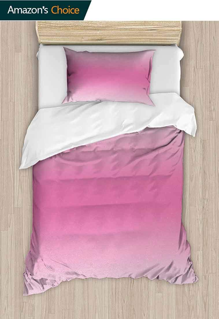 Ombre Custom Made Quilt Cover and Pillowcase Set, Medieval Fairytale Style Cotton Candy Inspired Girly Design Digital Modern Artwork Print, Reversible Coverlet, Bedspread, Gifts for Girls Women Pink