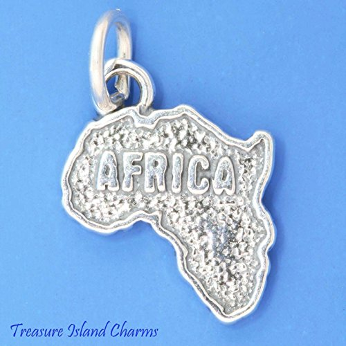Africa Continent Map .925 Solid Sterling Silver Charm Pendant New Ideal Gifts, Pendant, Charms, DIY Crafting, Gift Set from Heart by Wholesale Charms