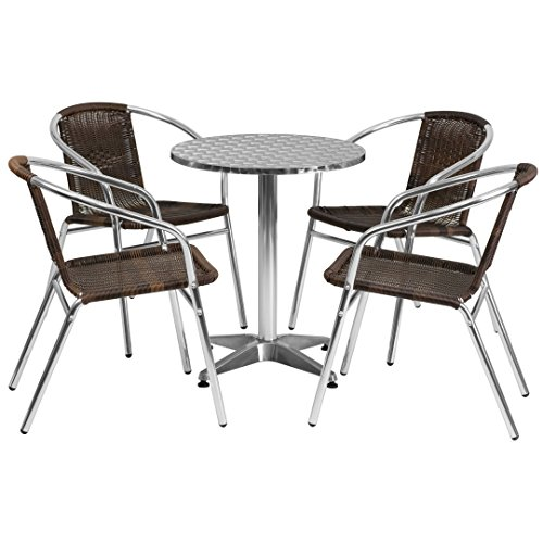 MFO 23.5'' Round Aluminum Indoor-Outdoor Table with 4 Dark Brown Rattan Chairs