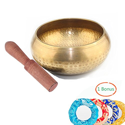 SUMCOO Sound Bowl,Tibetan Singing Bowl for Meditation, Yoga with Silk Cushion and Wooden Stick (copper) by SUMCOO