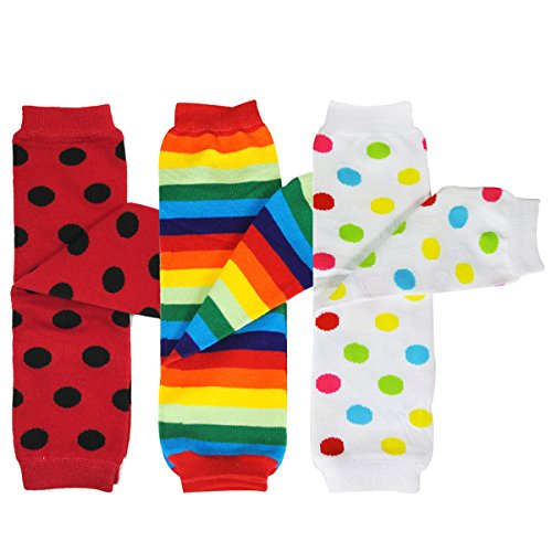 Bowbear Baby 3-Pair Leg Warmers Polka Dots and Rainbow -