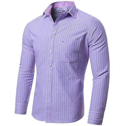 Purple Stripe Dress Shirt (INFLATION Men's Slim-Fit Long Sleeve Oxford Shirt Casual Button Down Collar Shirt Dress Shirt 16