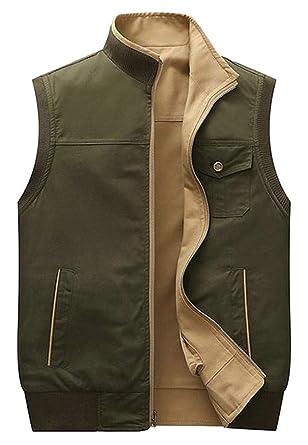 9b8f1fead37cc Pcutrone Men Sleeveless Autumn Reversible Multi Pocket Cargo Jacket Vest  Army Green XXS
