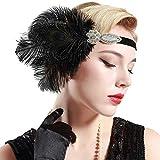 BABEYOND Women's Peacock Feather Headband Crystal Headpiece Great Gatsby Handband Flapper Accessories 1920s