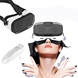 3D Virtual Reality Headset, VR Glasses/Headset with Remote & Half Transparent Cover for iPhone X 8 7 6S 6 Plus SE 5S, Samsung Galaxy S8 S7 S6 Edge& Other 4.0-6.5'' Cellphones