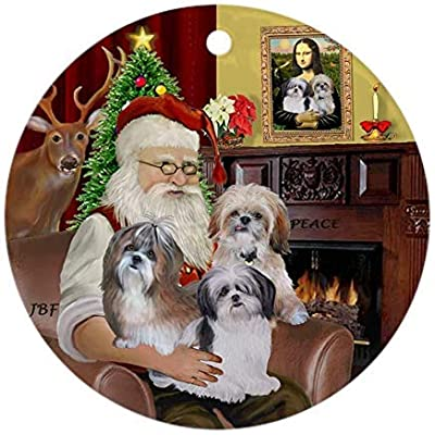 Voicpobo-Santa-Amp-His-3-Shih-Tzus-Christmas-Ornaments-Round-Novelty-Ceramic-Christmas-Tree-Decoration-Ornament-Gifts-for-Friendsfor-Family