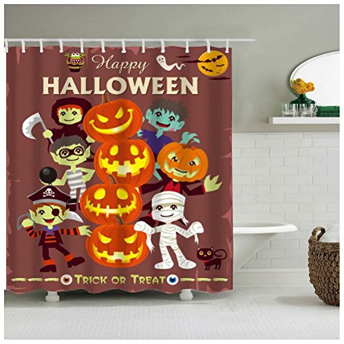 Sea&Cloud Modern Thrilling Design Shower Curtain for Happy Halloween Home Decor,the Boys Are Dressing Up Various Characters Such As Doctor,police, Monster To Celebrate Halloween,bathroom Accessories -