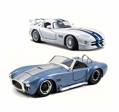 124 Shelby - 2013 Dodge Viper w/ 1965 Shelby Cobra - Set of Two 1/24 Scale Diecast Model Cars