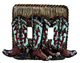 Western Turquoise Boot Double Toggle Light Wall