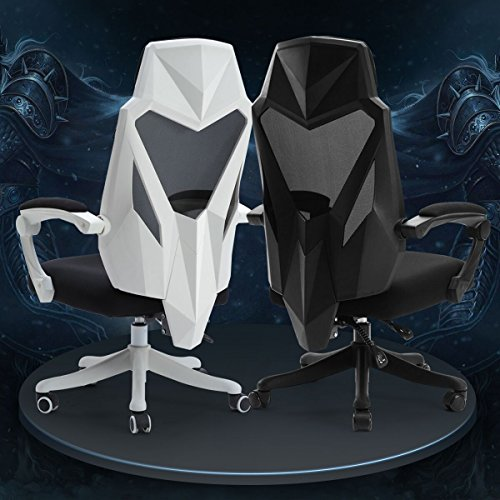 Hbada High-back Ergonpomic Mesh Gaming Office Racing Desk Chair with Adjustable Armrest, Lumbar Support, Padded Headrest and Seat Cushion, Black