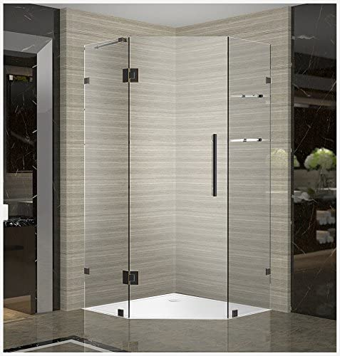Aston Neoscape GS 34 x 34 x 72 Completely Frameless Neo-Angle Shower Enclosure with Glass Shelves in Oil Rubbed Bronze
