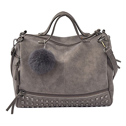 Rivet WINWINTOM Tote Shoulder Handbag Gray Bags Large Travel Women Shoulder Bag Satchel Bag 5qYntZHOxx