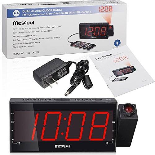 mesqool am fm digital dimmable projection alarm clock radio with 1 8 led display usb charging. Black Bedroom Furniture Sets. Home Design Ideas